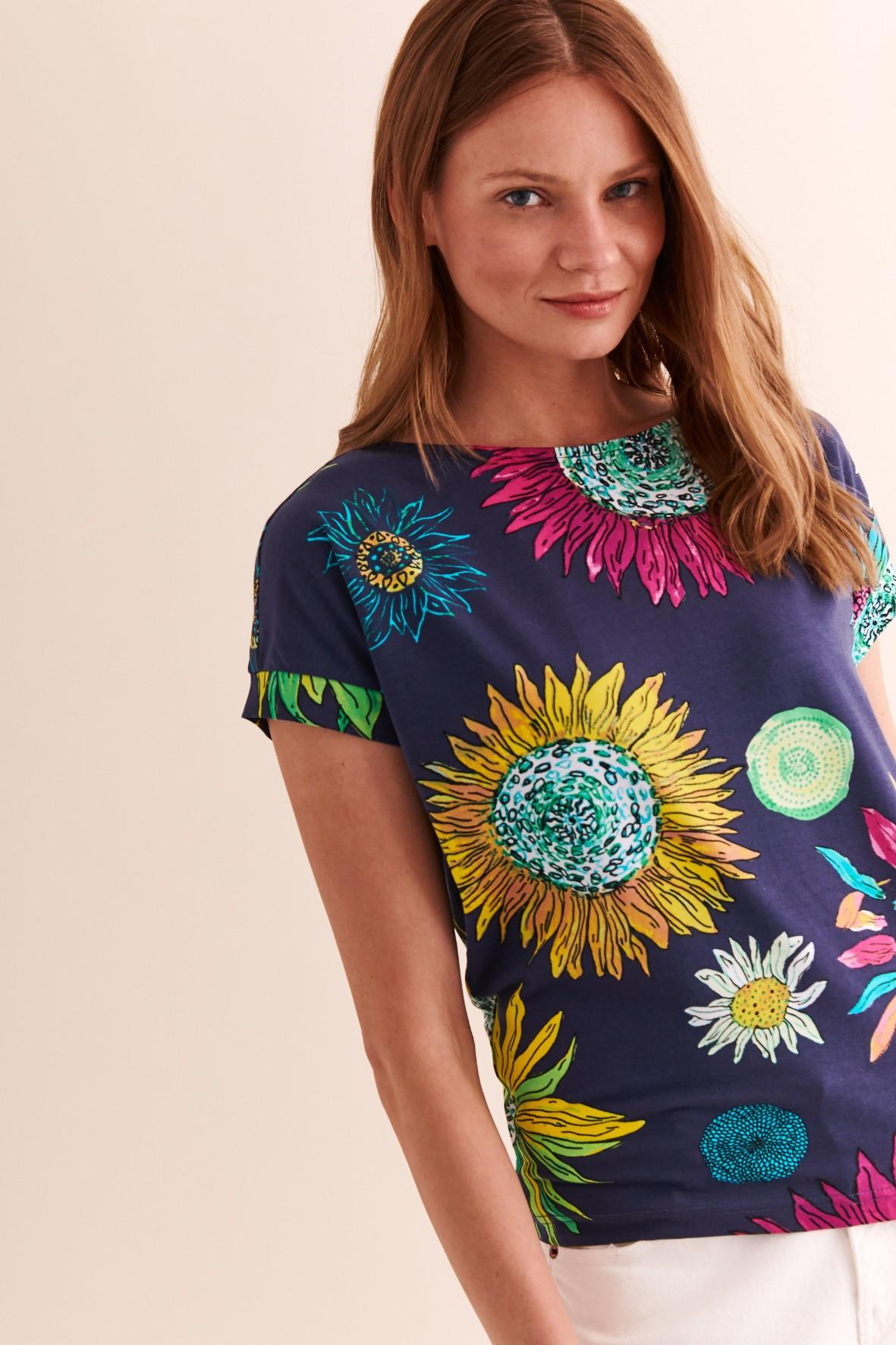 Bluzka damska granatowa w kwiaty
