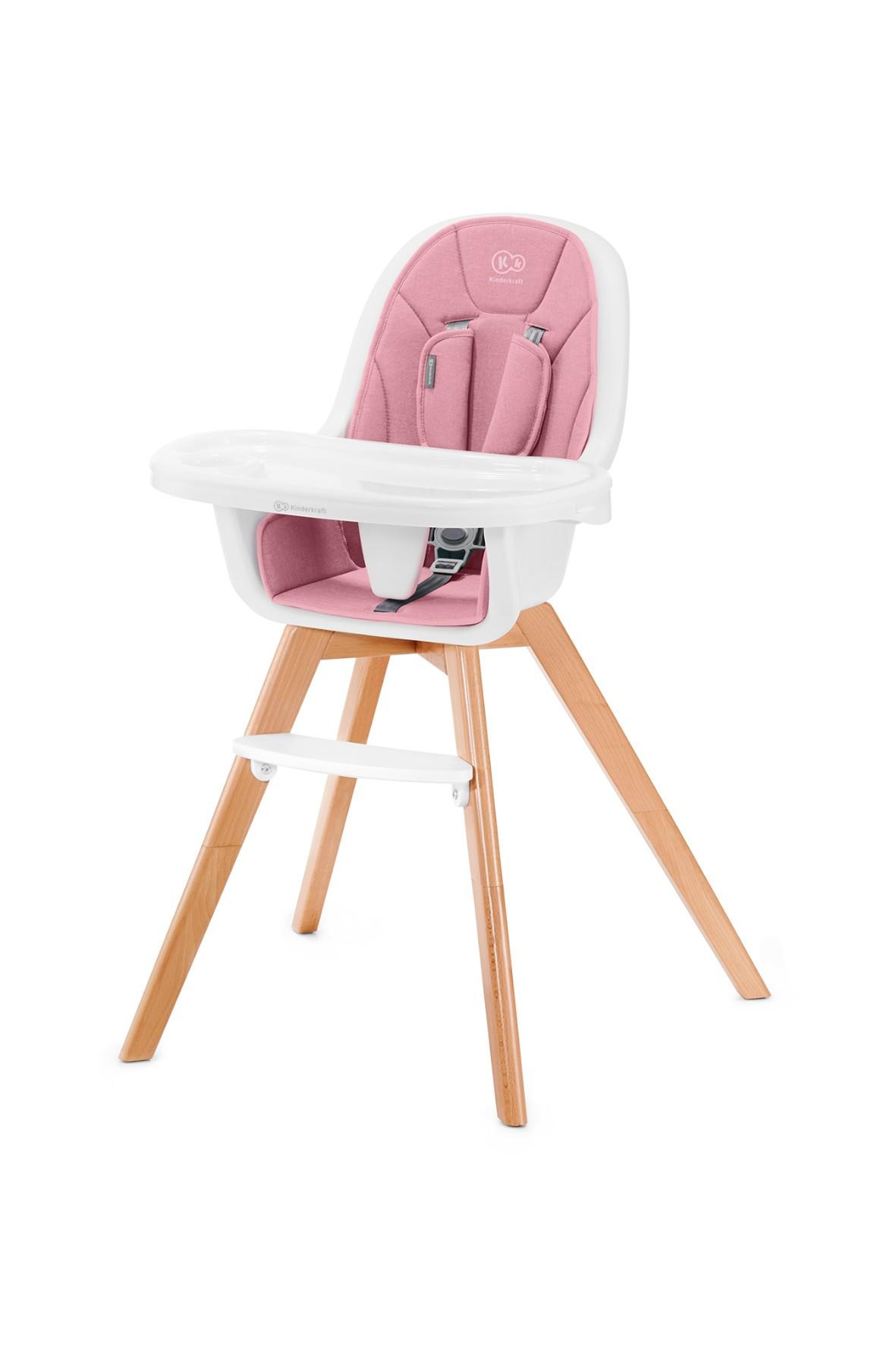 Krzesełko do karmienia 2w1 Kinderkraft Tixie różowy 6msc- 5lat