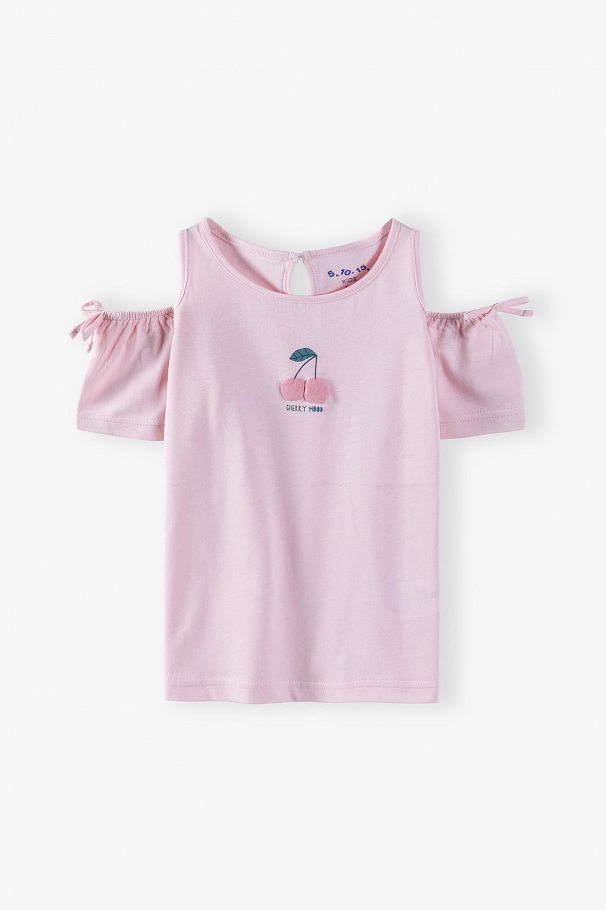 Bluzka dziewczęca z aplikacją 3D- różowa
