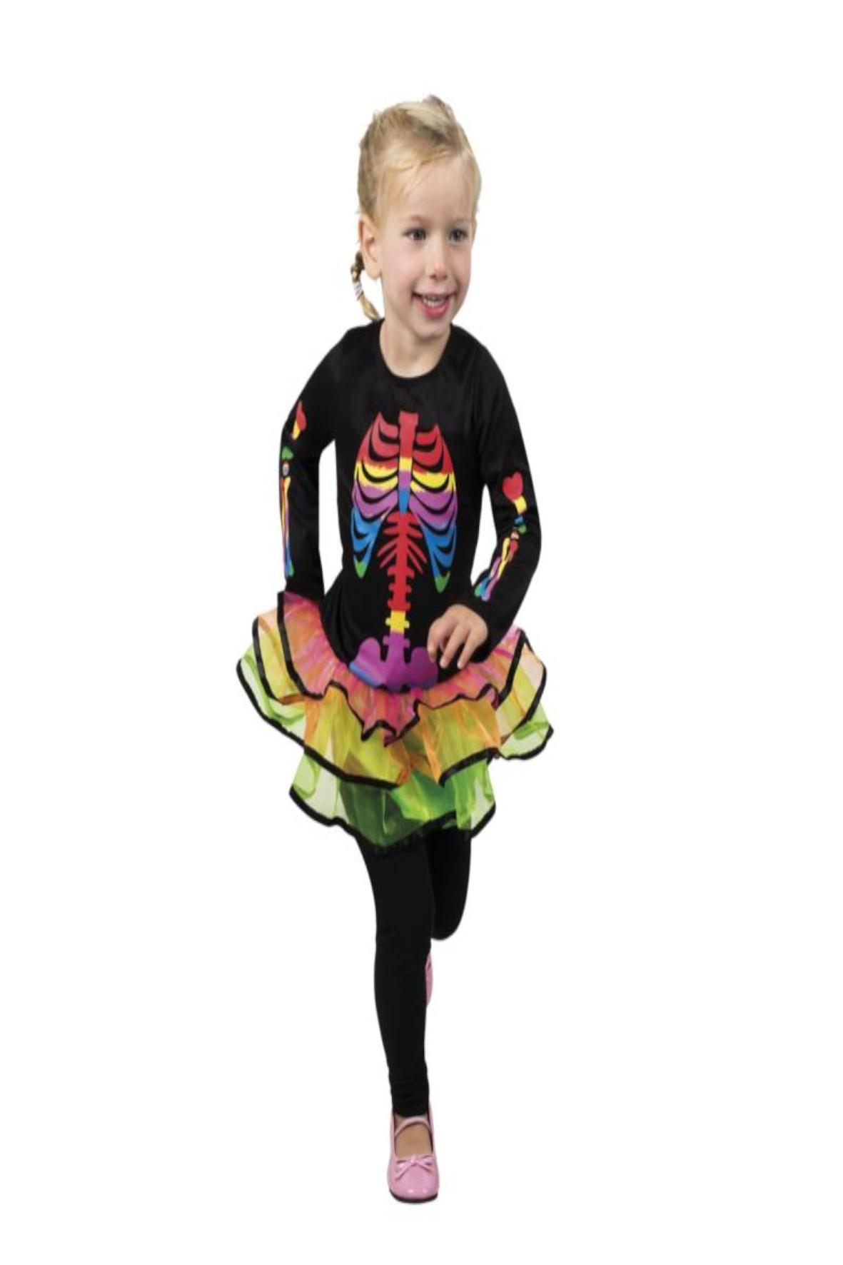 Strój karnawałowy dziewczęcy - Kościotrup sukienka