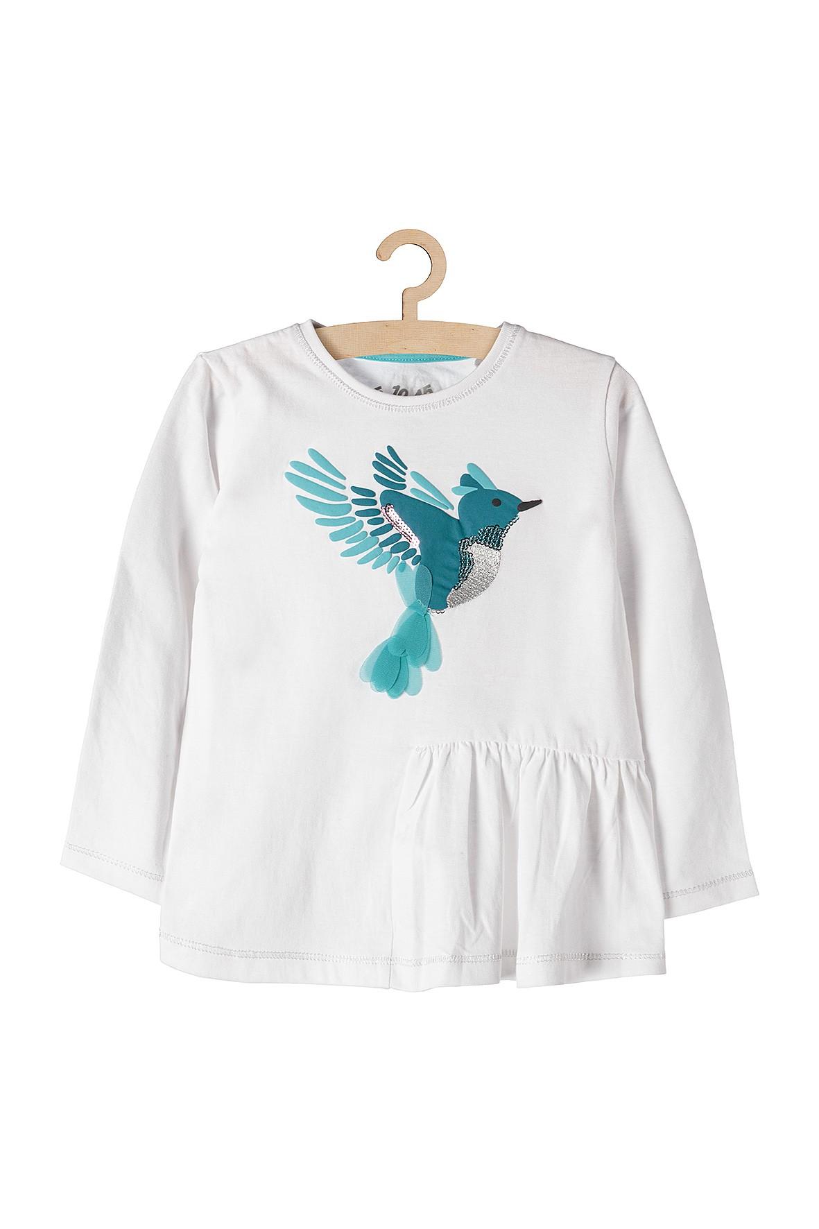 Bluzka dziewczęca biała z kolibrem i ozdobną falbanką na dole