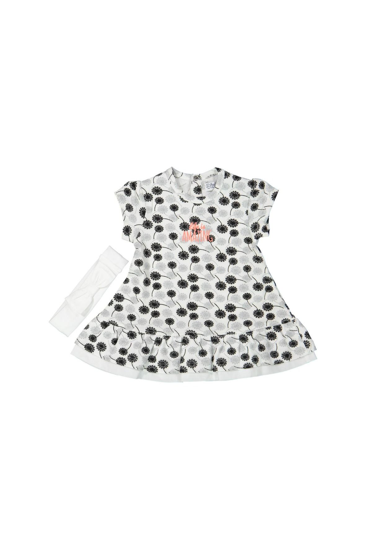 Sukienka niemowlęca z białą opaską