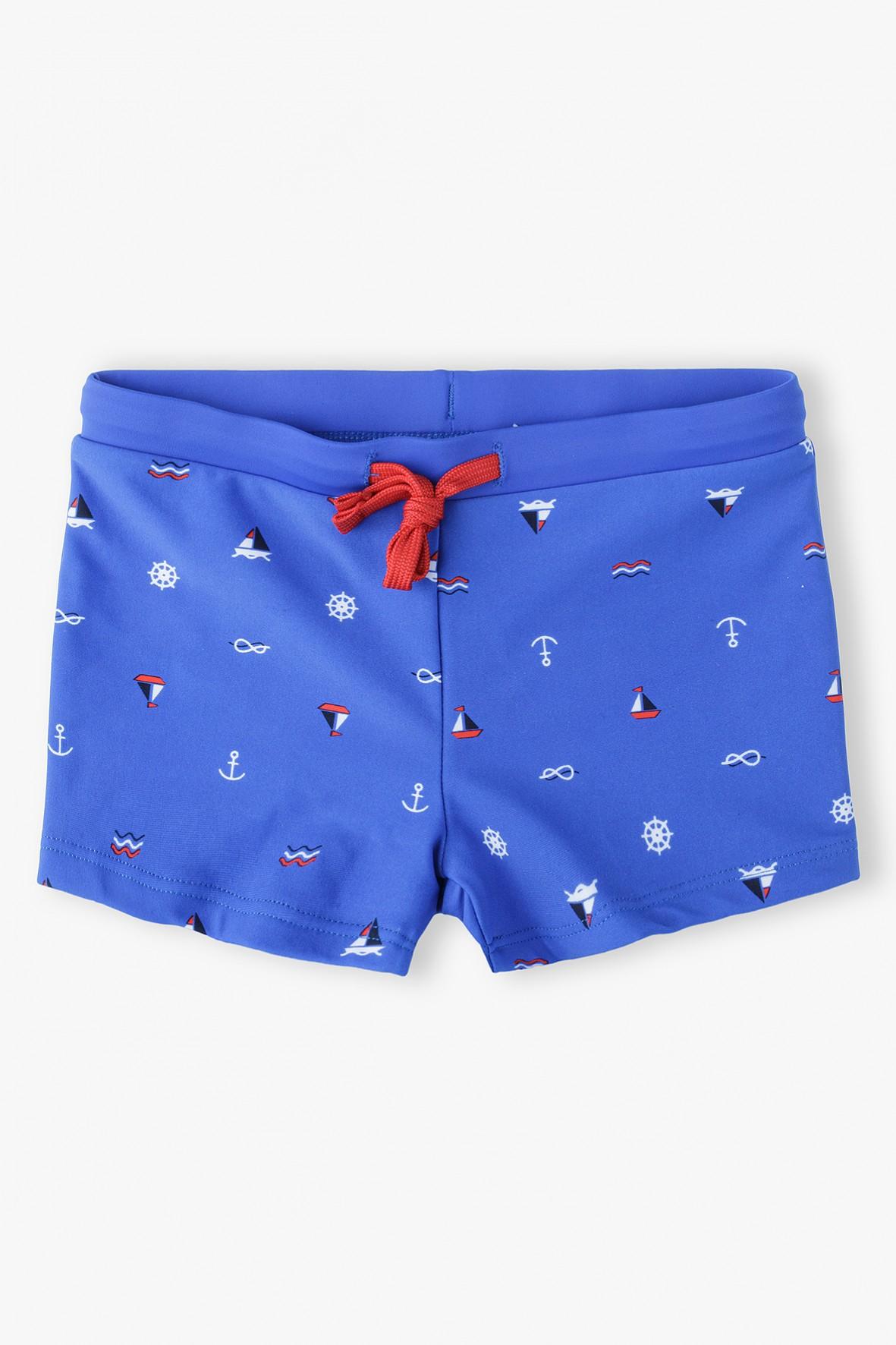 Kąpielówki chłopięce niebieskie w marynarskie wzory