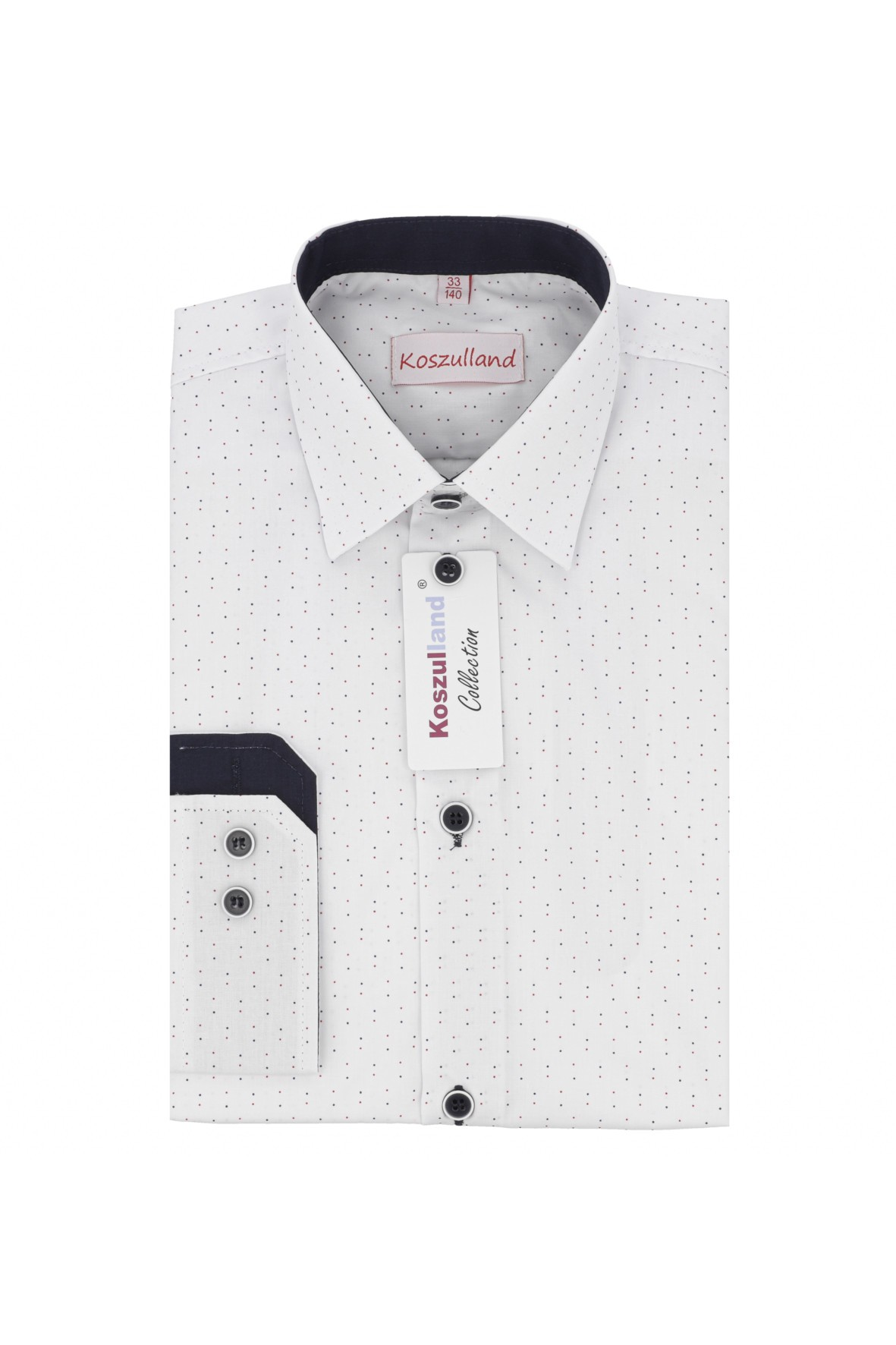 Koszula chłopięca biała w kropki-długi rękaw