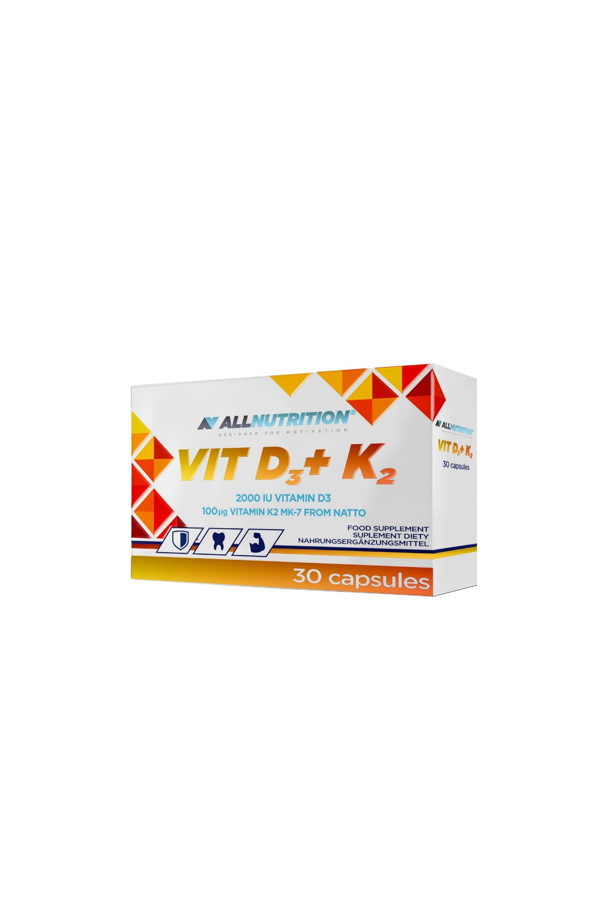 Suplementy diety - Allnutrition  Witamina D3 + K2 - 30 kapsułek