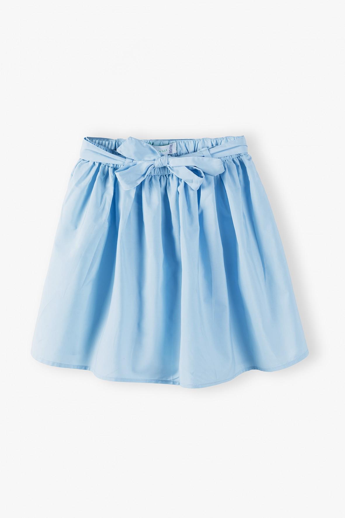 Rozkloszowana spódniczka z kokardką - niebieska