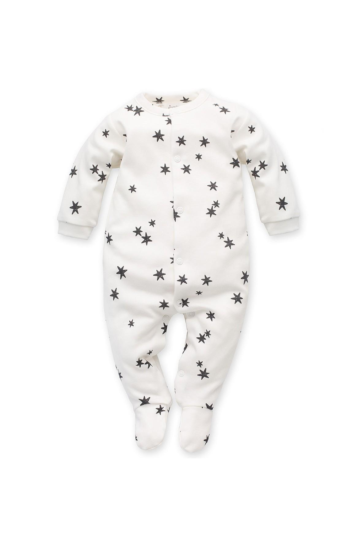 Pajac niemowlęcy bawełniany- ecru w gwiazdki