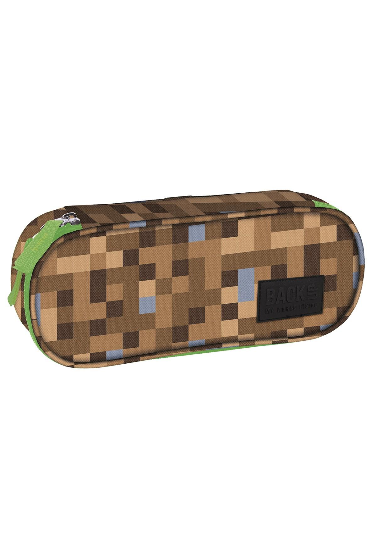 Piórnik saszetka zielono-brązowy
