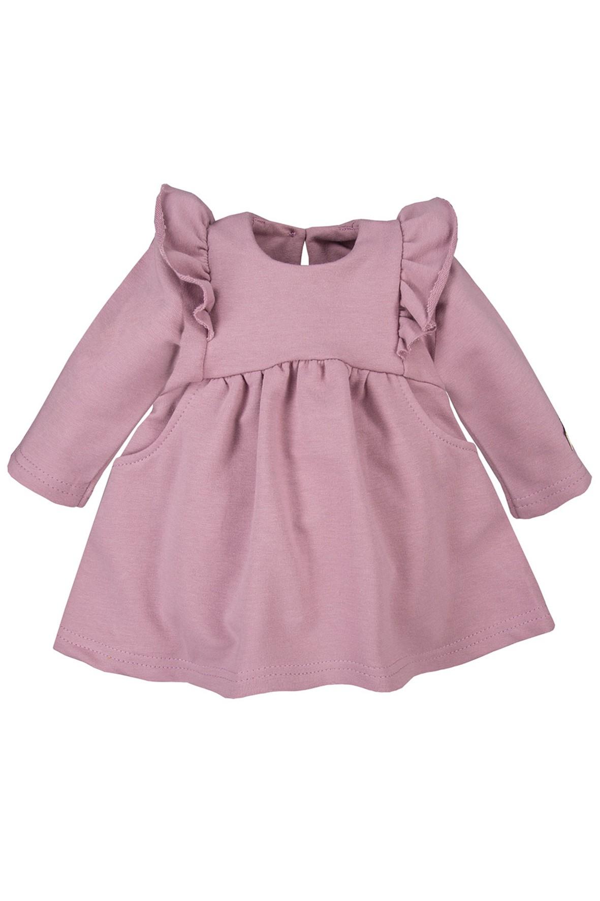 Bawełniana sukienka z falbankami  - wrzosowa