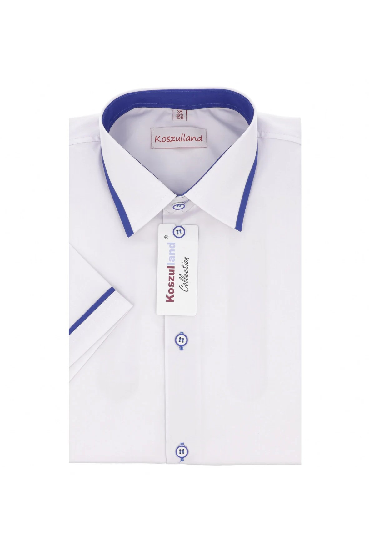 Koszula chłopięca  z krótkim rękawem - biała z niebieskimi dodatkami