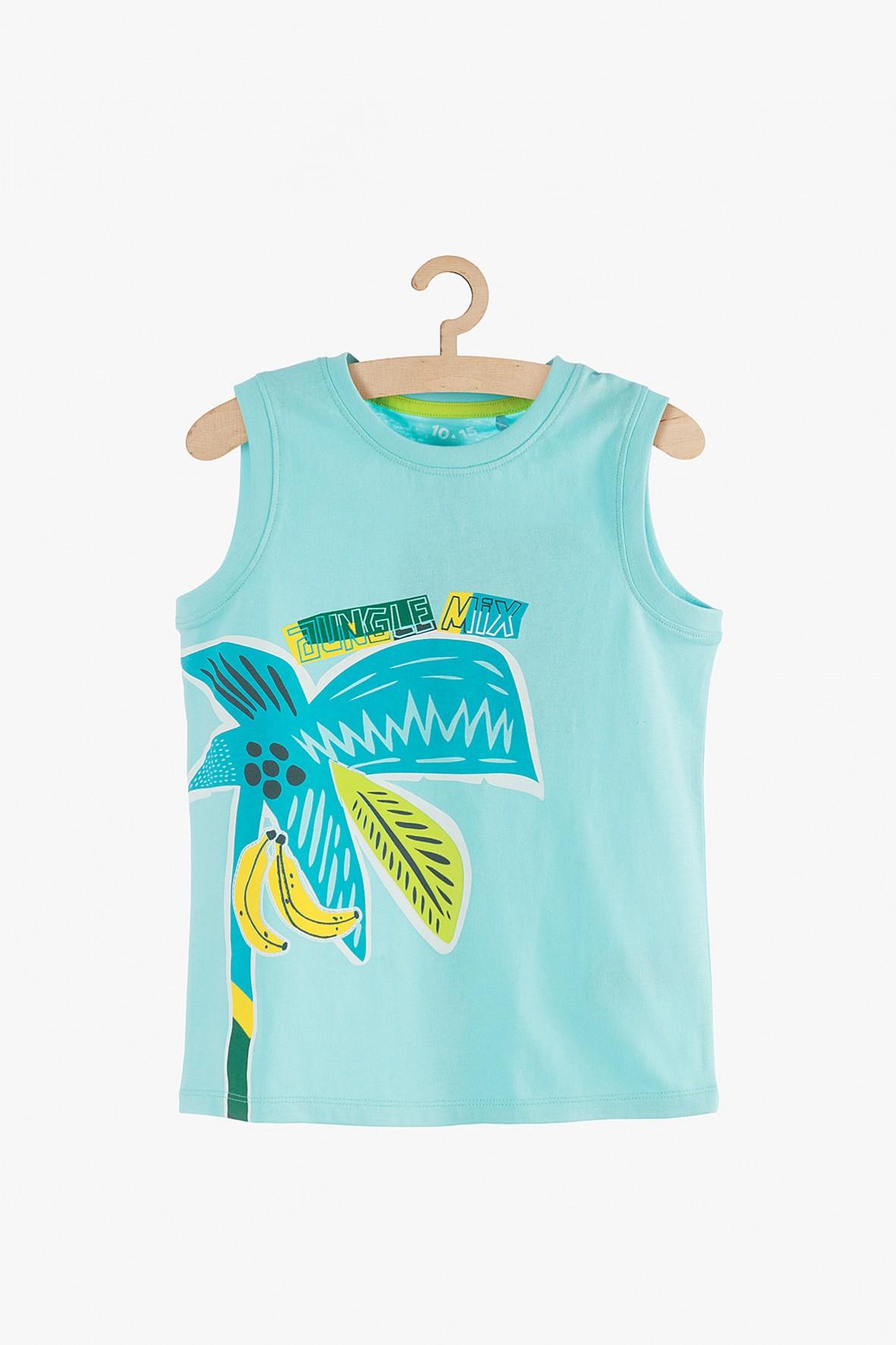 Bluzka na ramiączka niebieska z palmą
