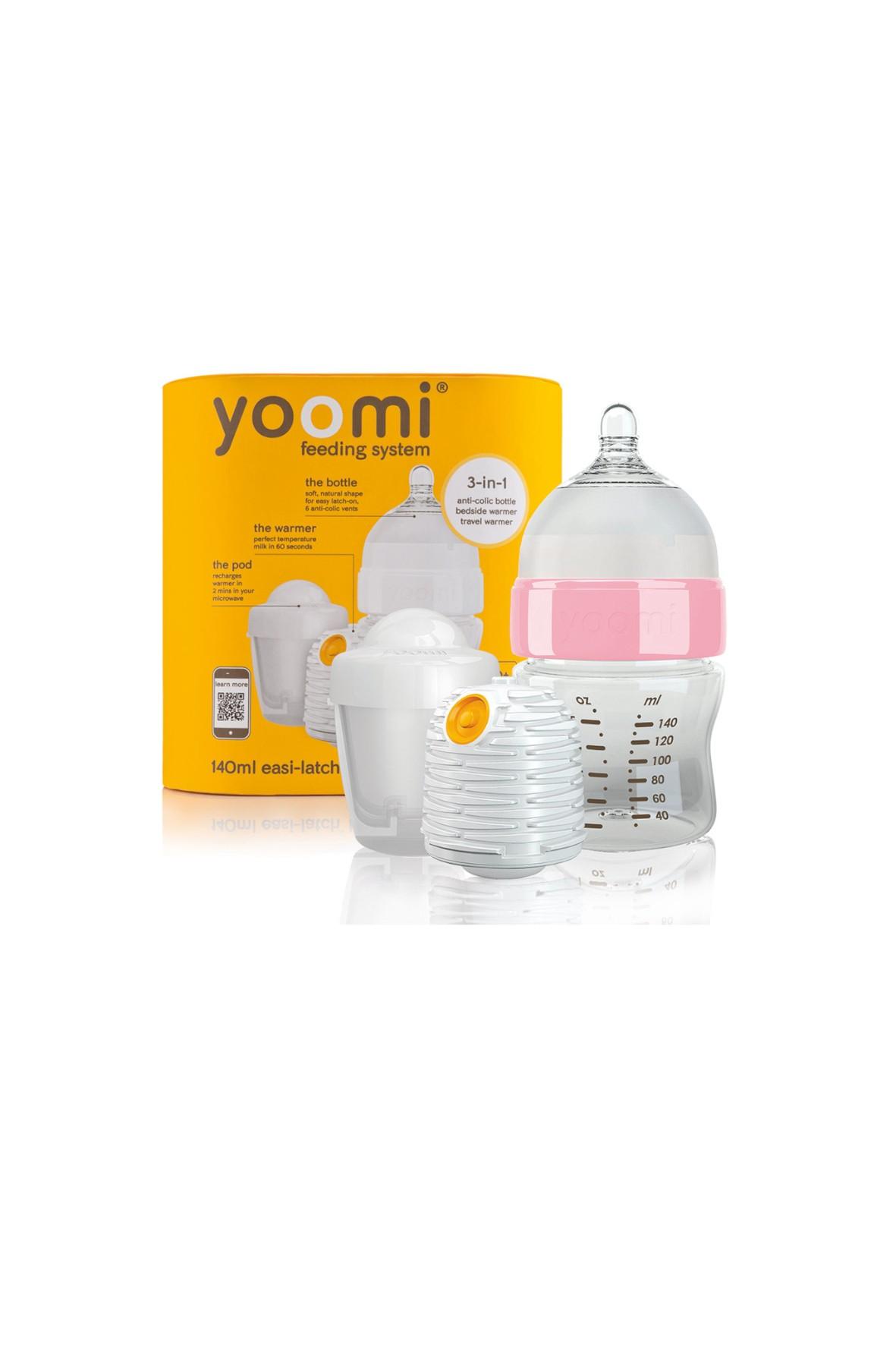 Butelka Yoomi z różowym kołnierzem - podgrzewacz - kapsuła 140ml