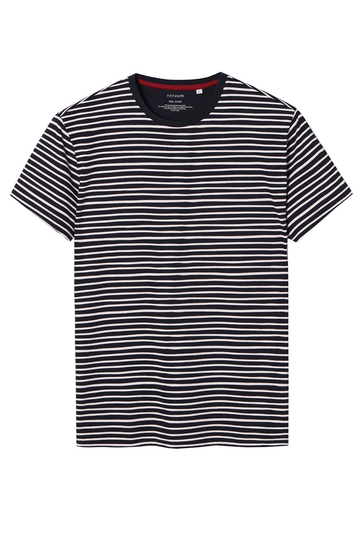 Bawełniany t-shirt męski w paski Tatuum