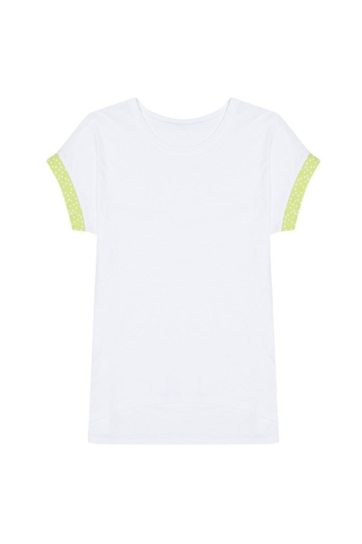 T-shirt damski bawełniany z ozdobnym rękawem