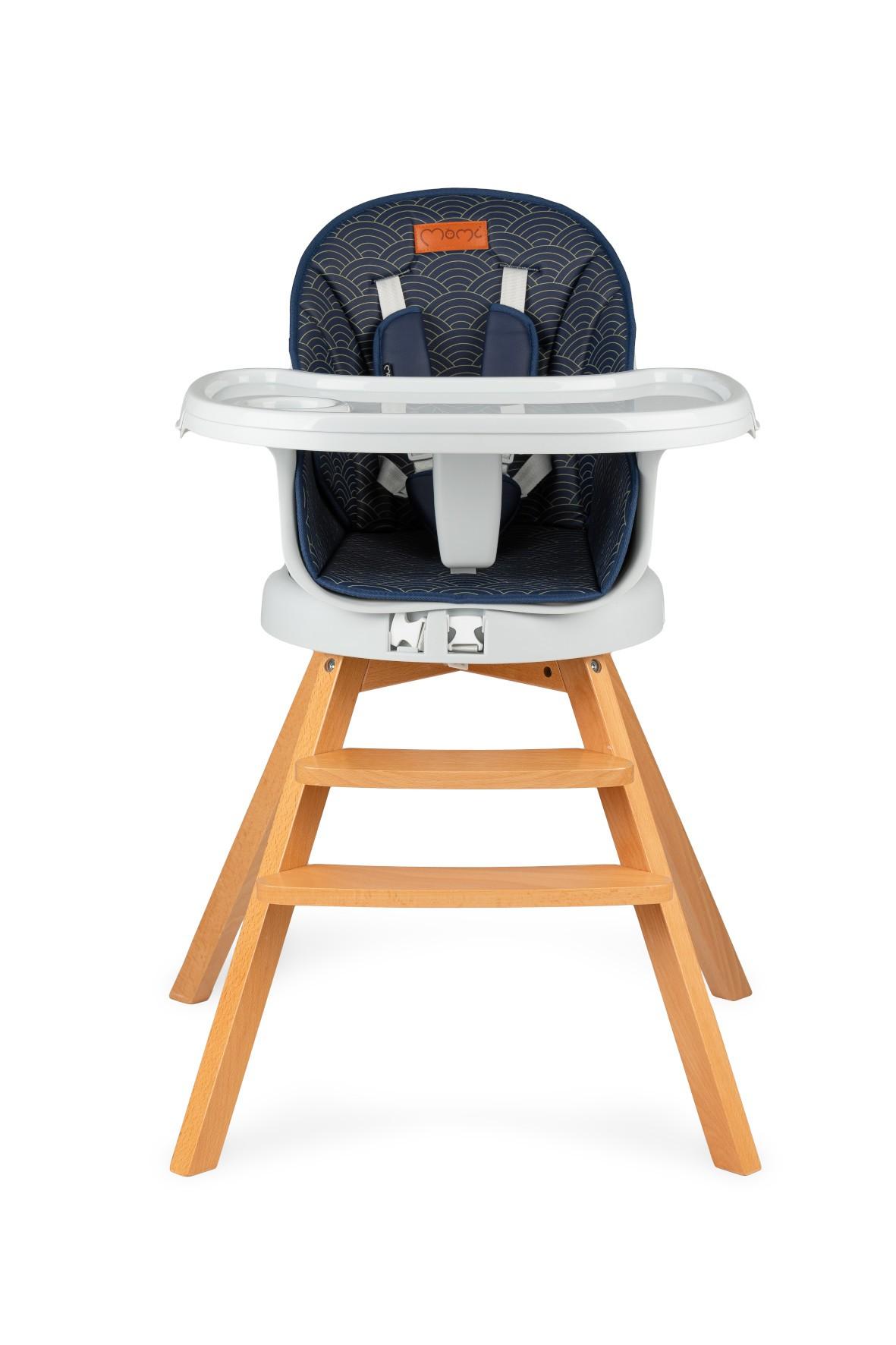 Krzesełko do karmienia 3w1 MoMi WOODI granatowy kropki
