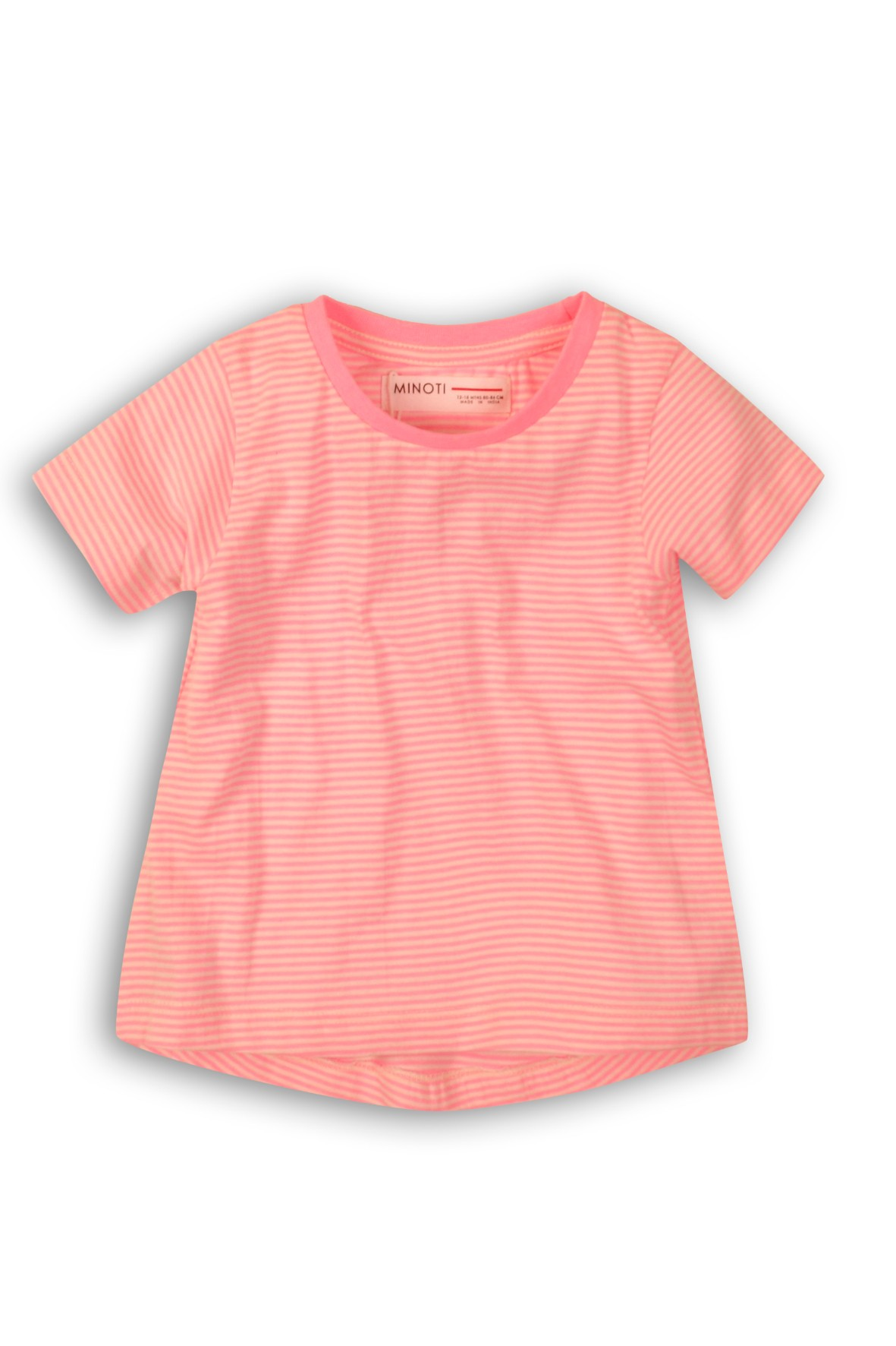 T-Shirt dziewczęcy różowy w paski- fluo