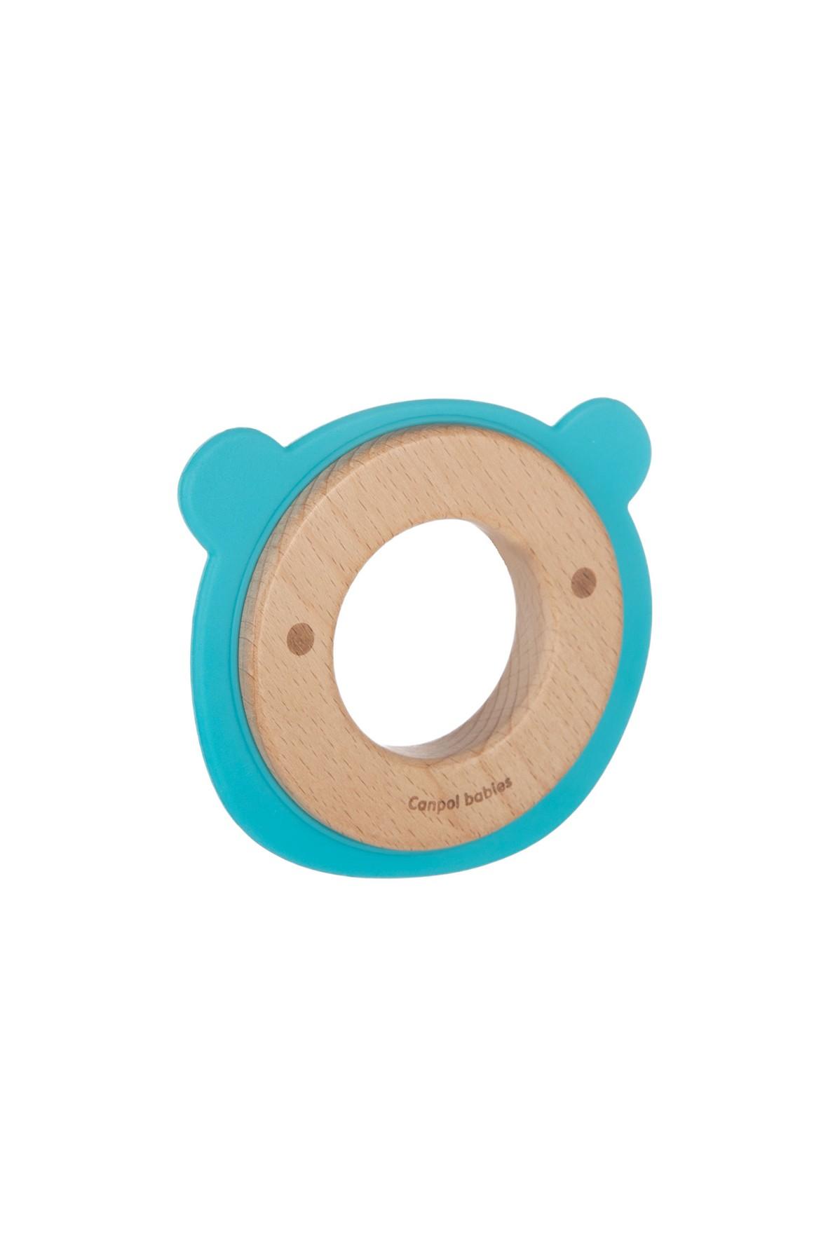 Canpol babies gryzak drewniano- silikonowy dla niemowląt MIŚ