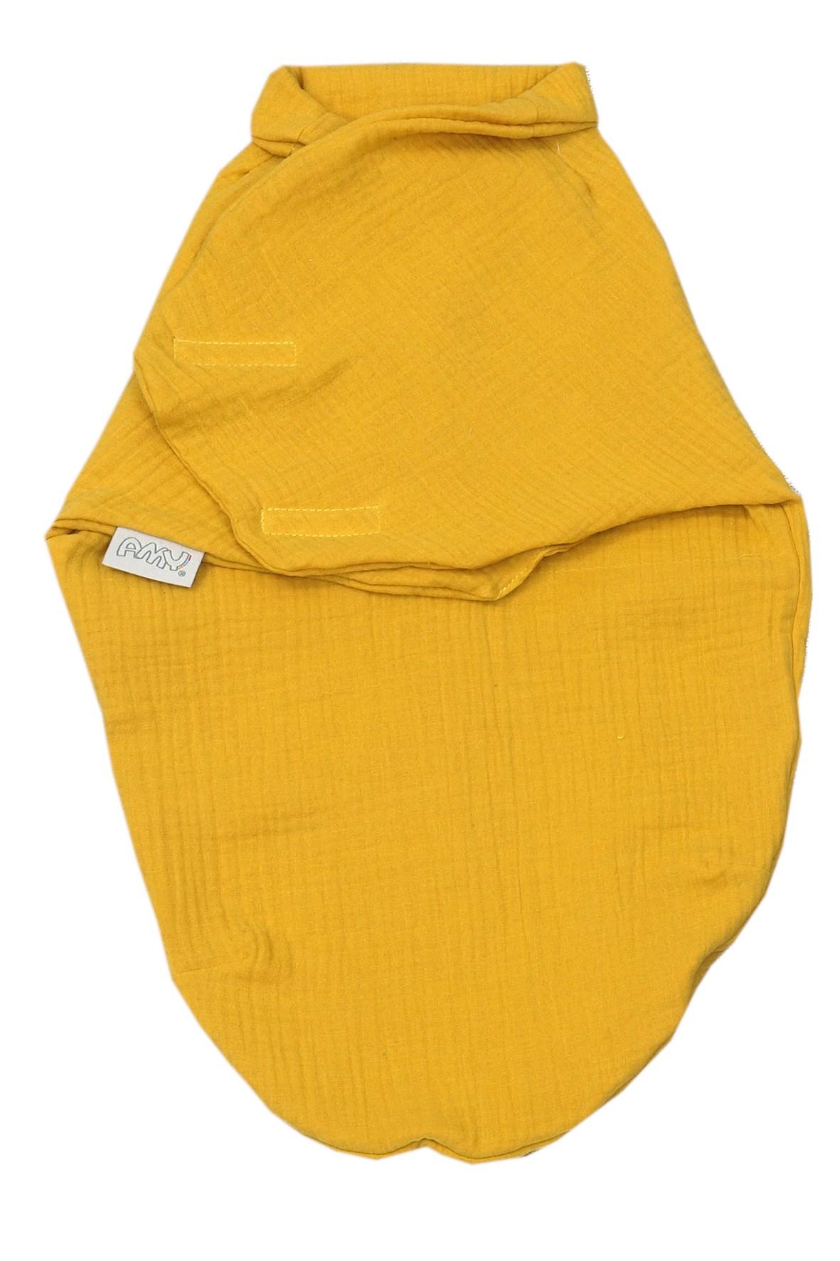 Otulacz niemowlęcy muslinowy 72x60cm musztardowy