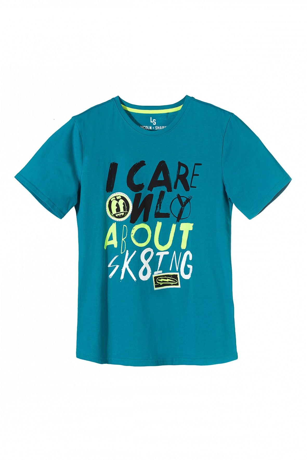 Koszulka chłopięca niebieska z krótkim rękawem -Sk8ing