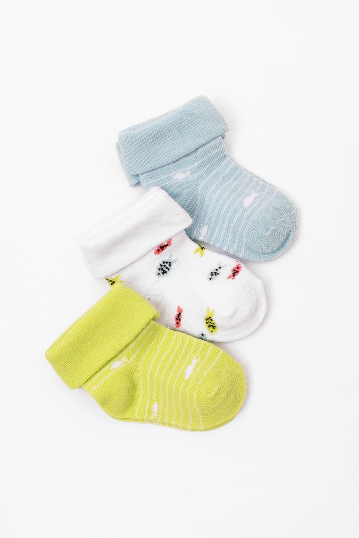 Skarpetki niemowlęce w rybki- 3pak