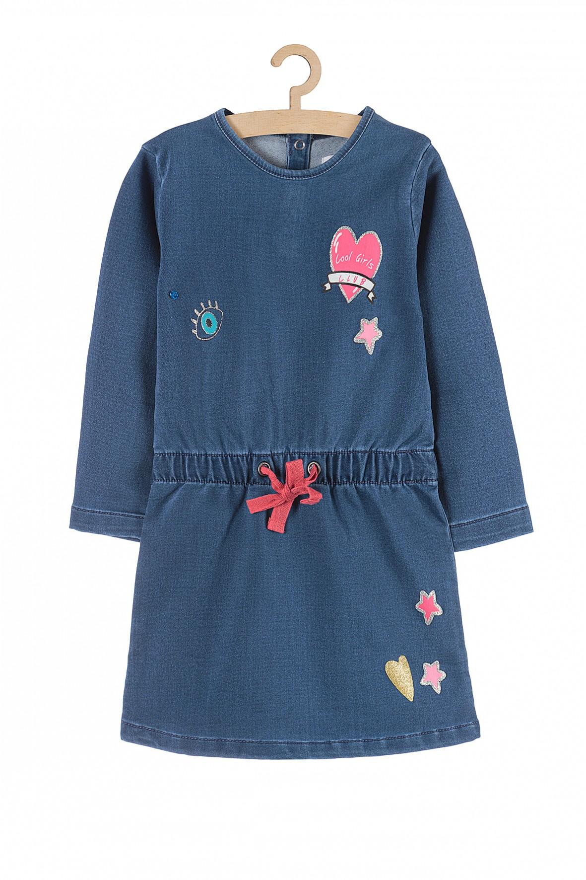 Sukienka dziewczęca dzianinowa  z kolorowymi nadrukami