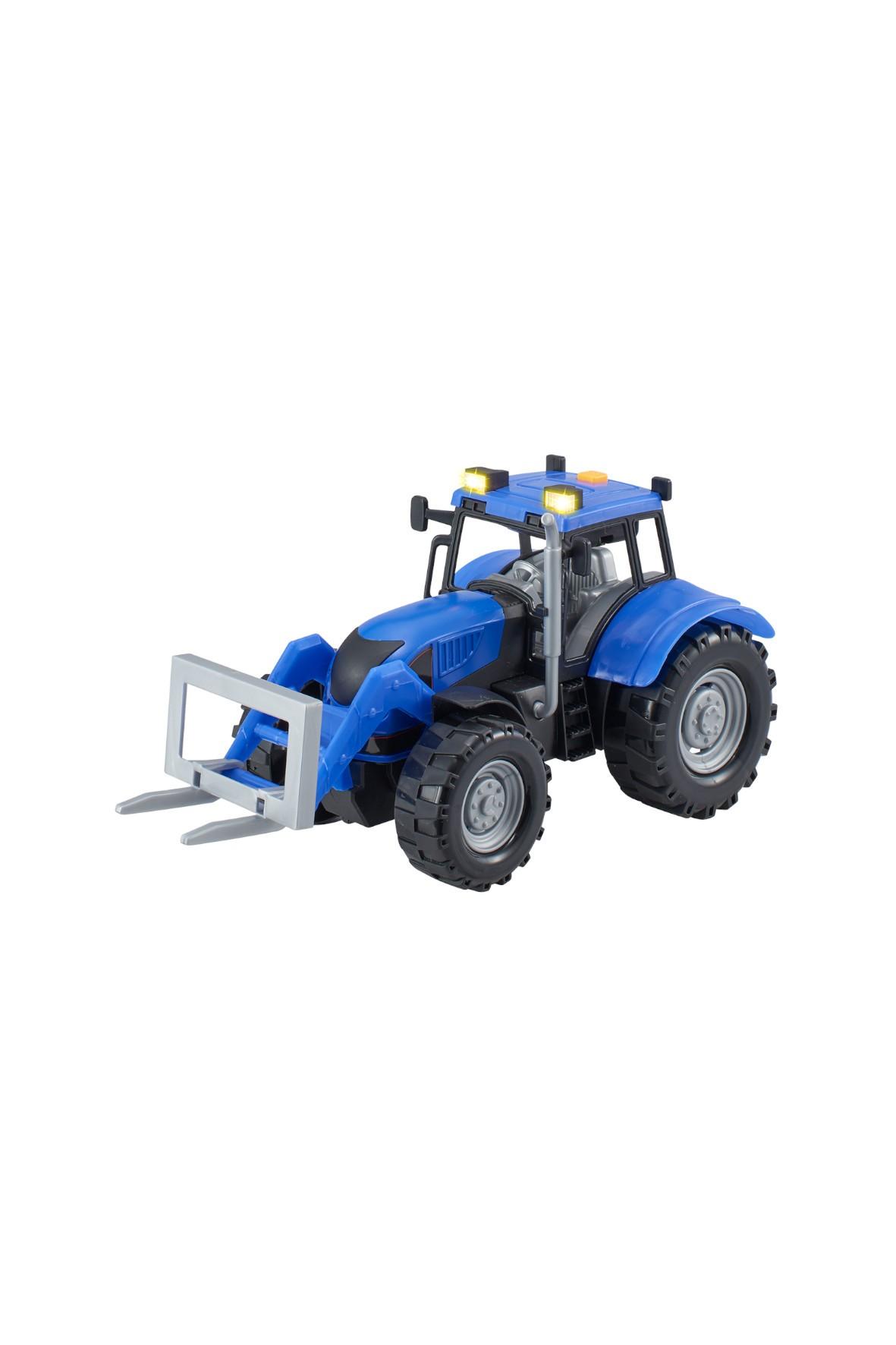 Agro pojazdy - Traktor z akcesoriami niebieski wiek 3+