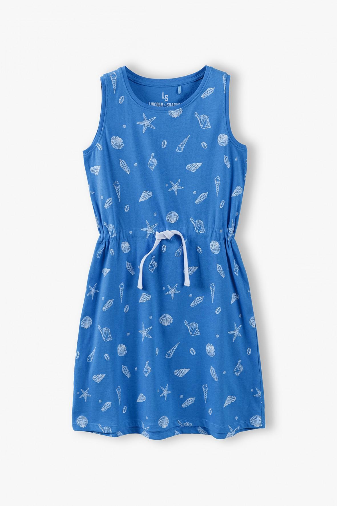 Sukienka dziecięca w muszelki w kolorze morskim