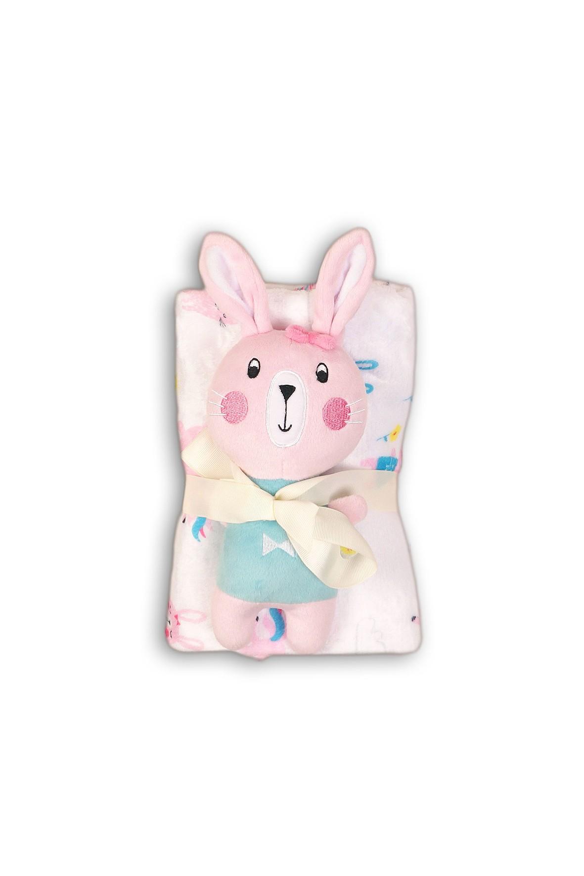 Kocyk niemowlęcy różowy z króliczkiem