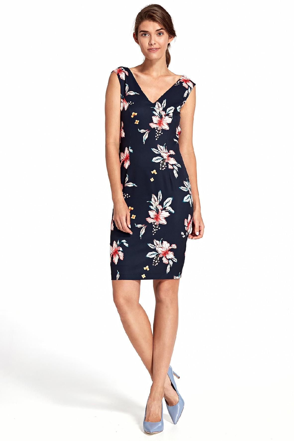 Sukienka damska z głębokim dekoltem na plecach- granatowa w kwiaty