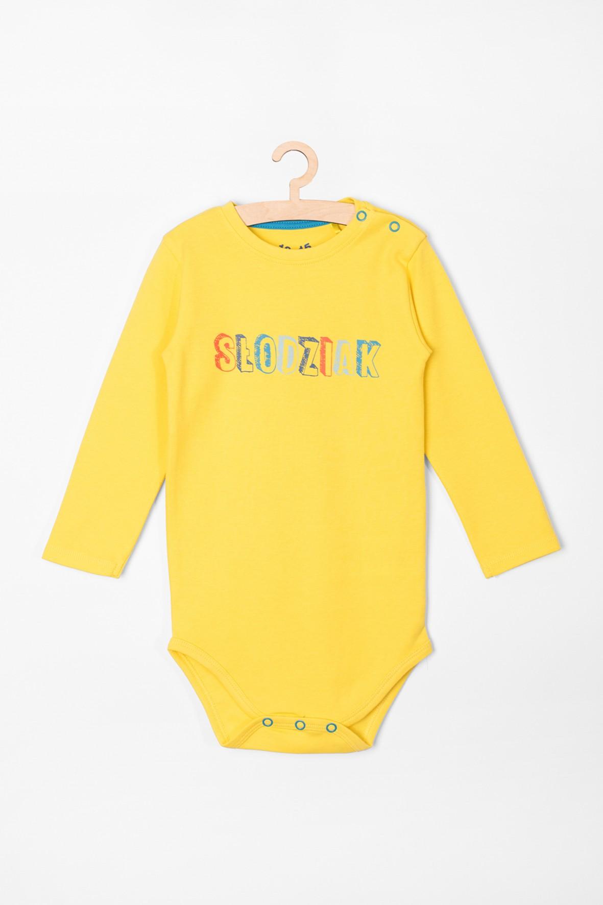 Body chłopięce żółte z napisem- Słodziak