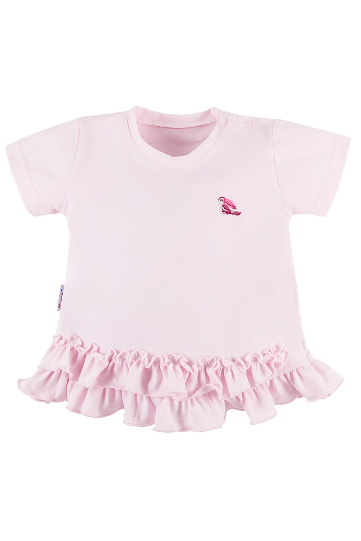 Bawełniana tunika niemowlęca NATURE różowa