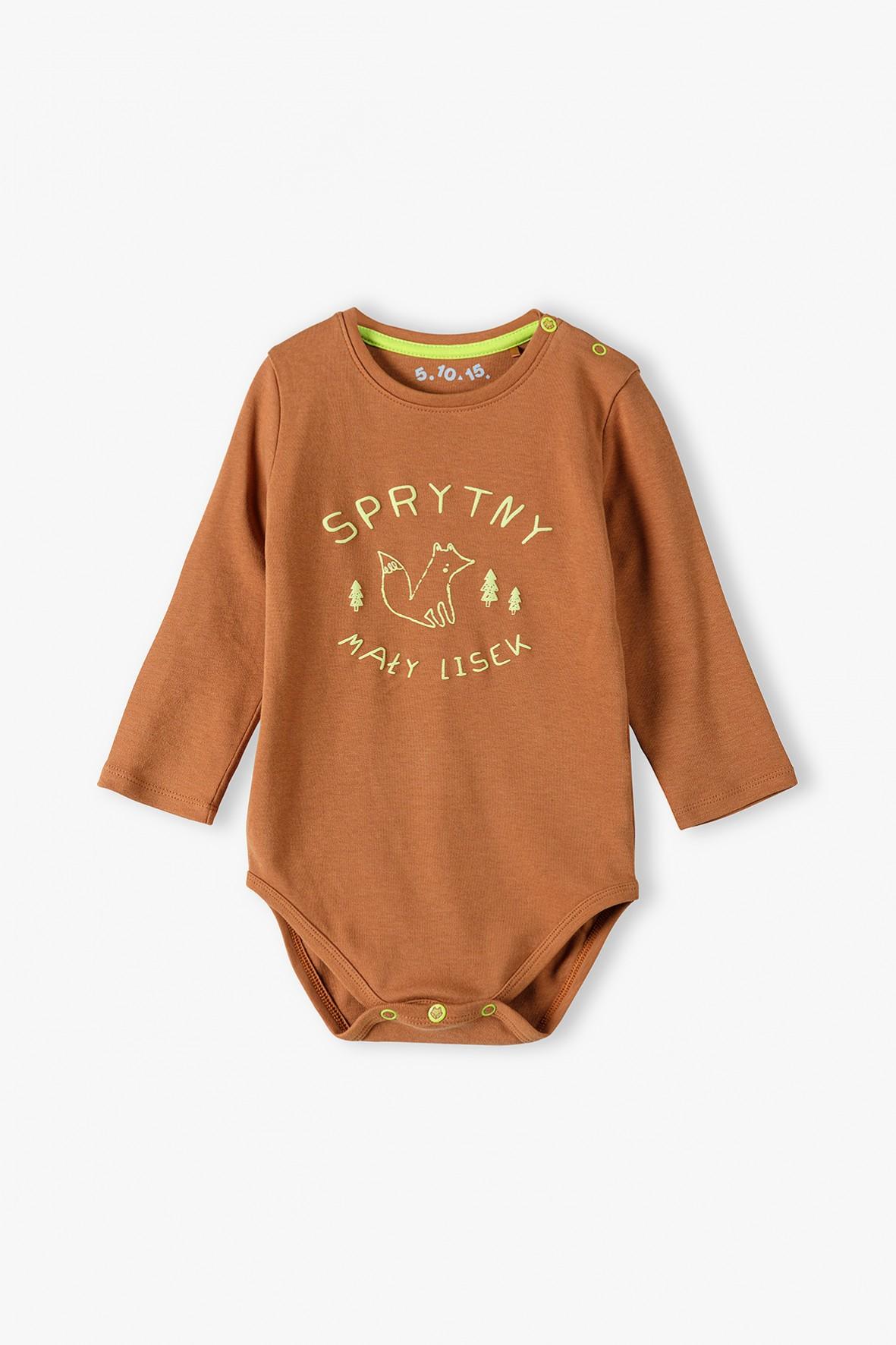 Bawełniane body niemowlęce z polskim napisem -SPRYTNY MAŁY LISEK -brązowe