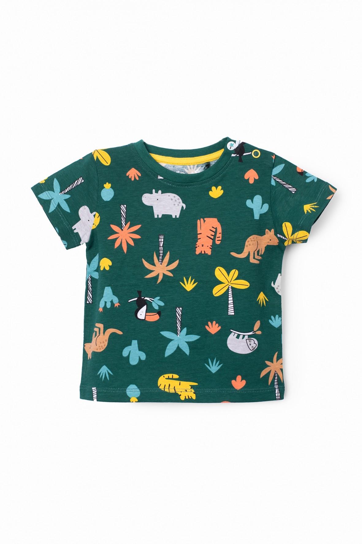 T-shirt niemowlęcy ciemnozielony z nadrukiem Safari