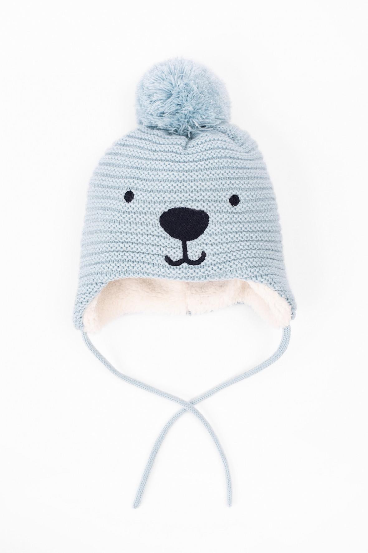 Czapka zimowa dla niemowlaka- niebieska wiązana pod szyją