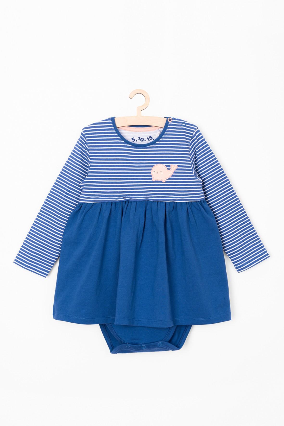 Dzianinowe body-sukienka- niebieskie w paski