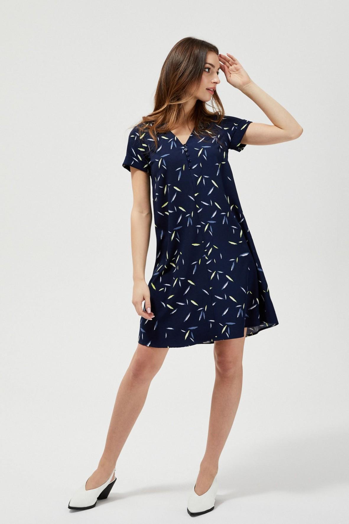 Sukienka damska granatowa w asymetryczne wzorki