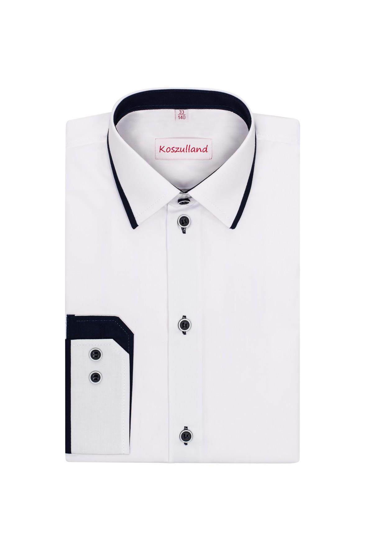 Biała, elegancka koszula dla chłopca- długi rękaw