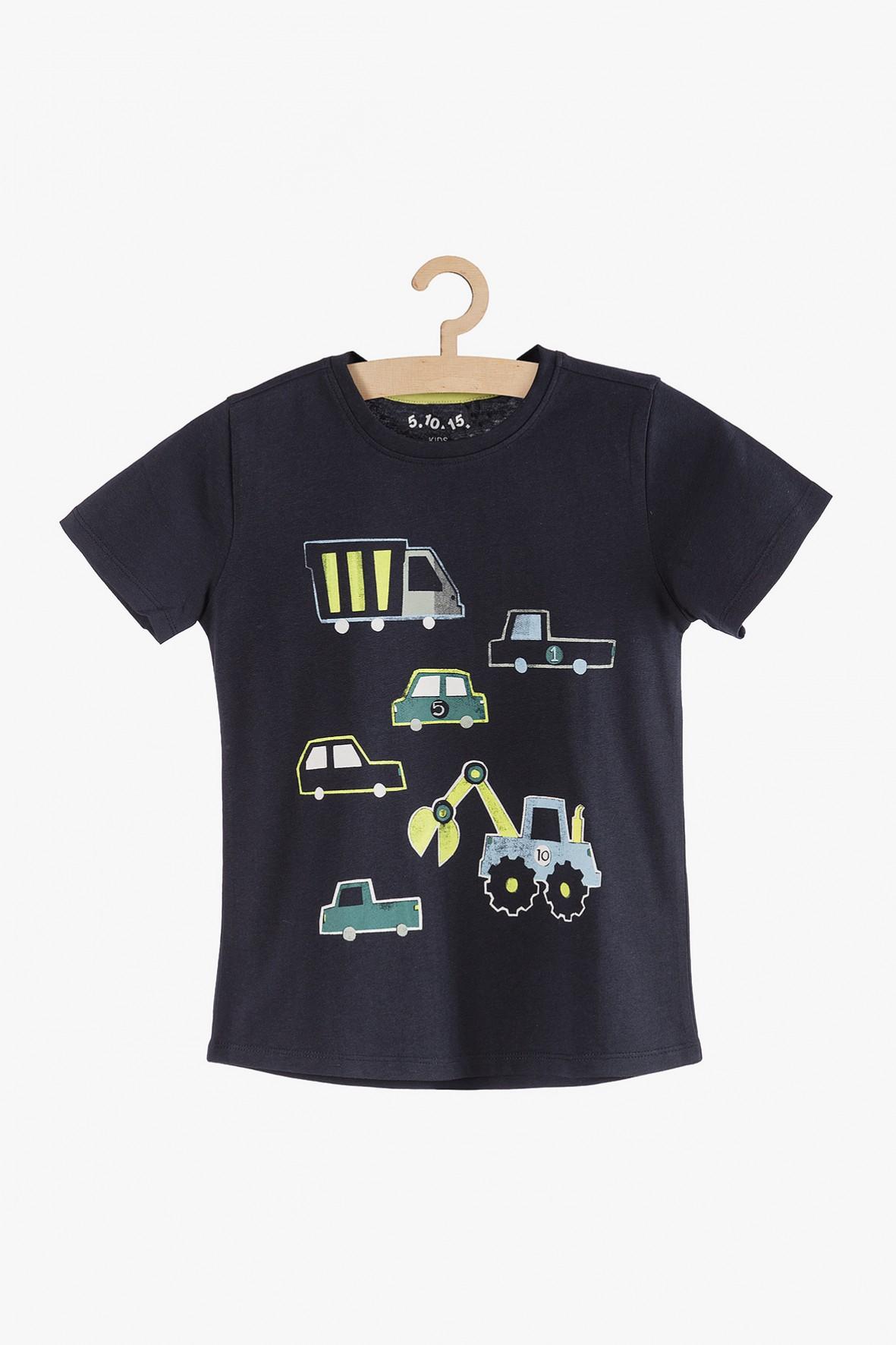 T-shirt chłopięcy dzianinowy w auta