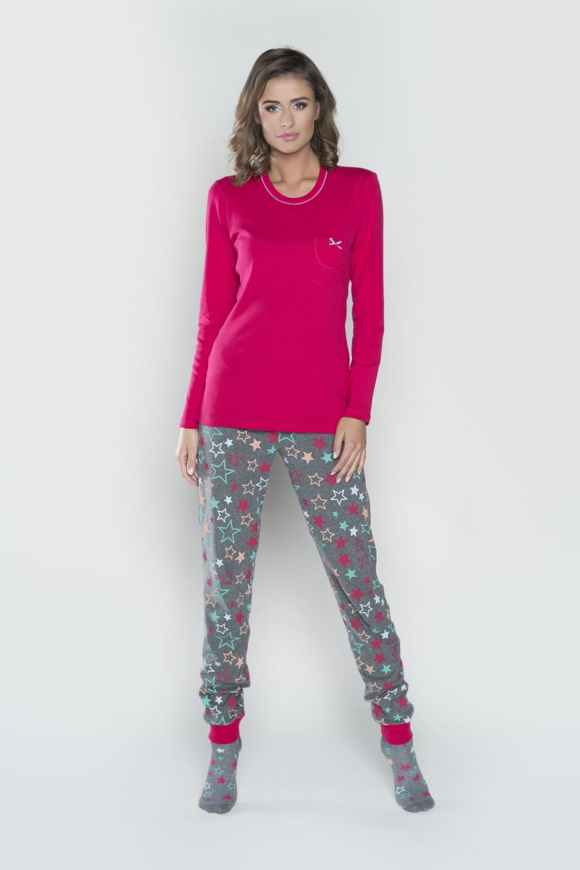 Piżama damska Tetyda długi rękaw, długie spodnie