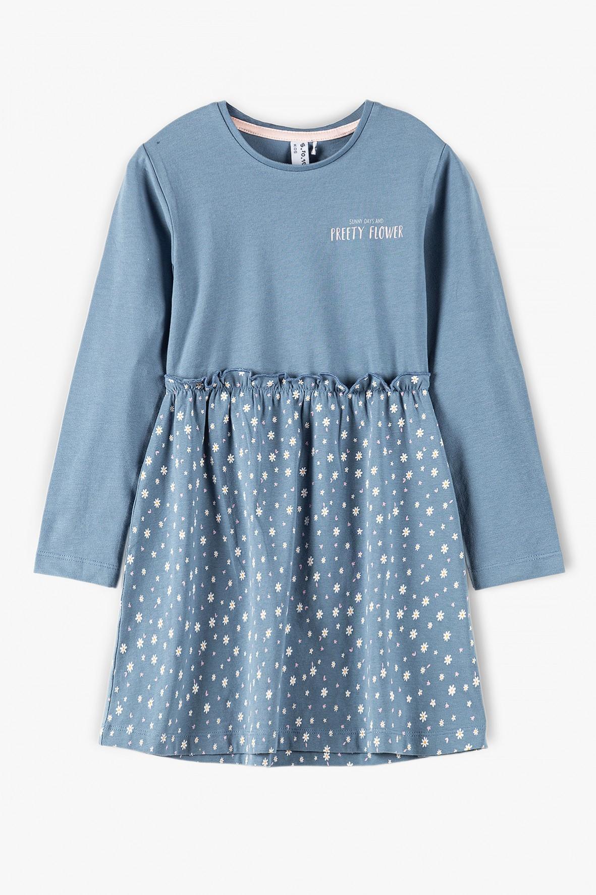 Sukienka na długi rękaw - niebieska w kwiatki