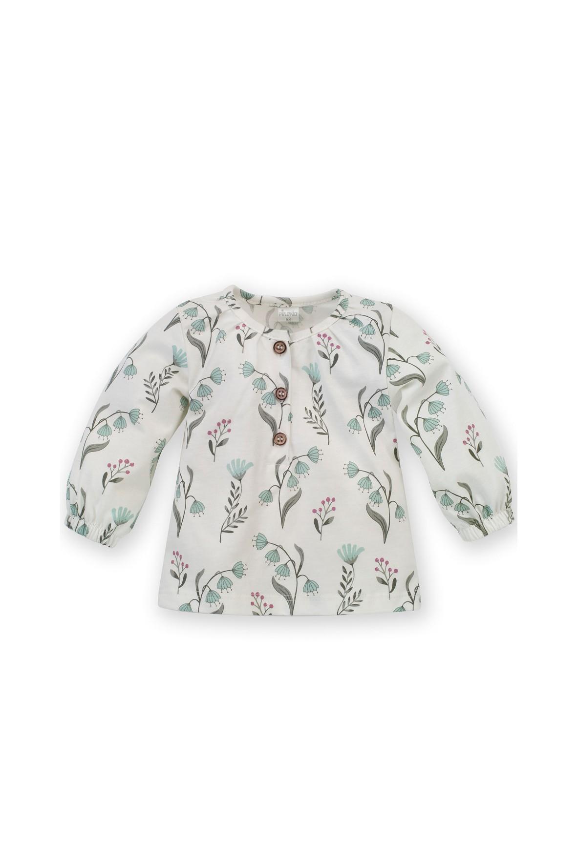 Dziewczęca bluzka z długim rękawem w piękny, autorski wzór kwiatków