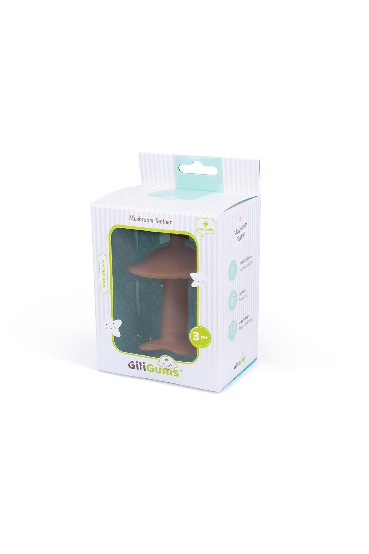 Silikonowy gryzak grzybek GiliGums - brązowy wiek 3msc+