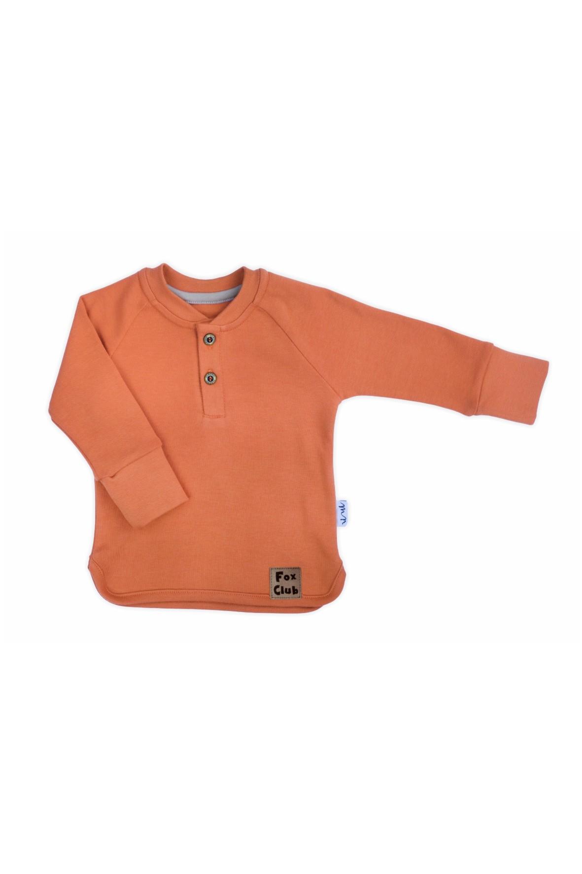Bluzka z długim rękawem wykonana z rudej bawełny