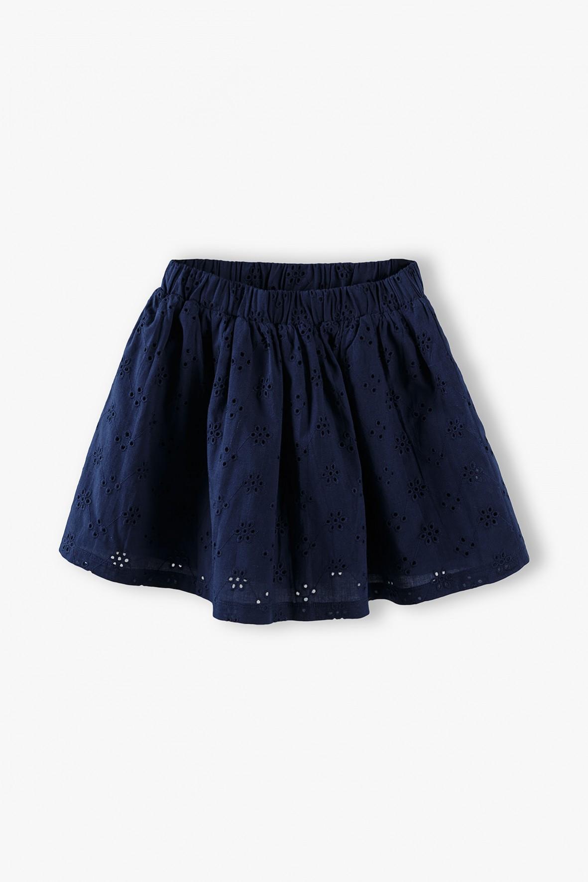 Spódnica dziecięca - granatowa z ażurowym haftem