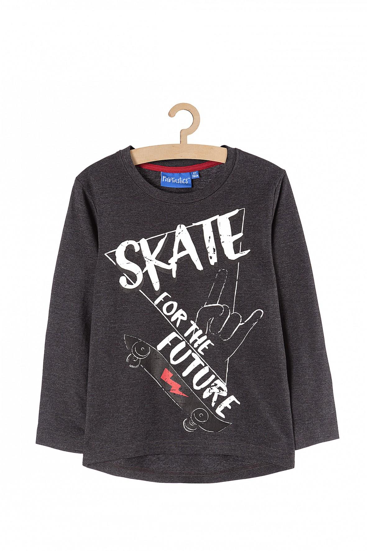 Bluzka chłopięca szara z napisem Skate