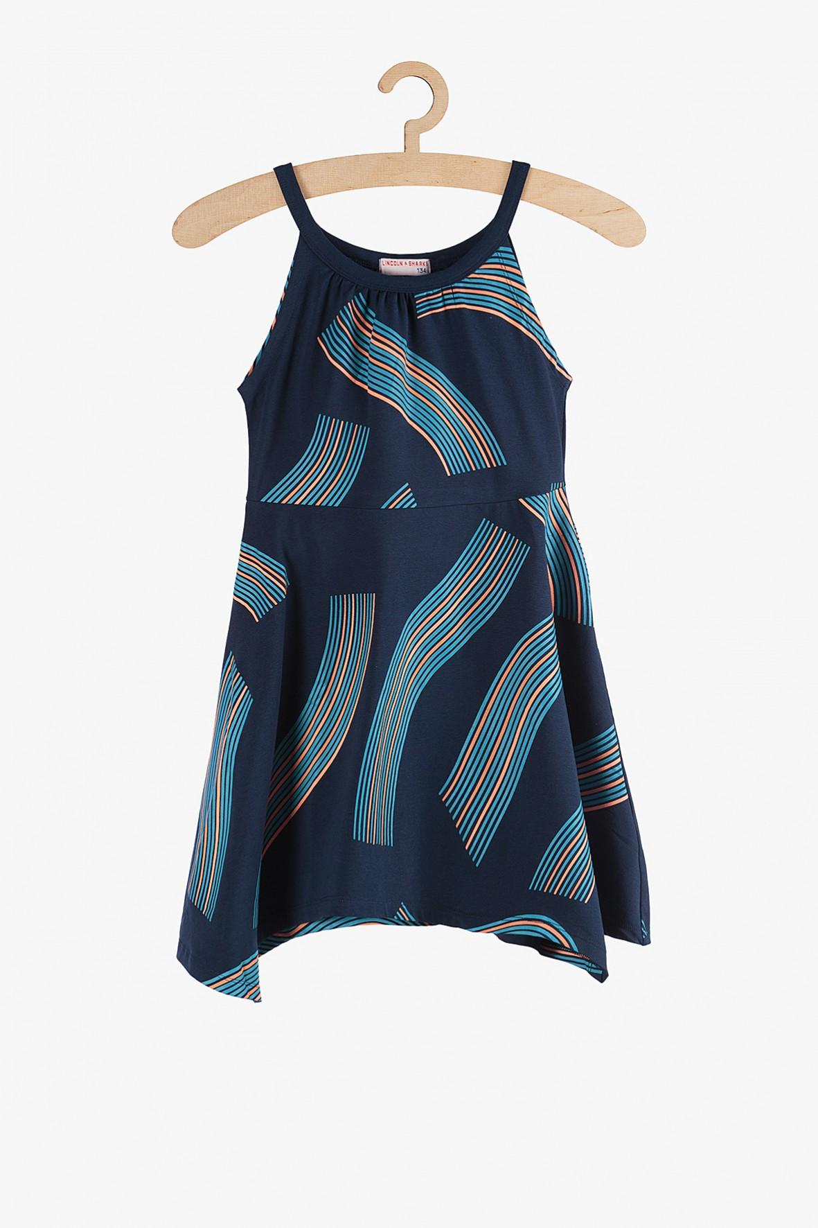 Sukienka na lato- granatowa w geometryczne wzory