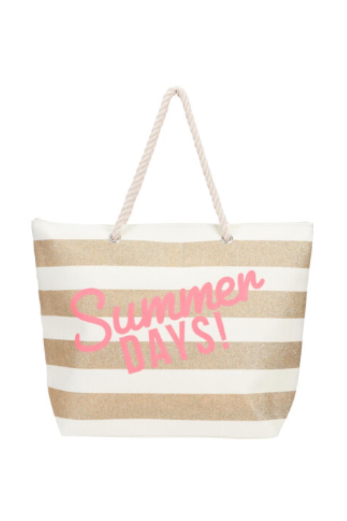 Torebka damska plażowa w paski z napisem Summer Days