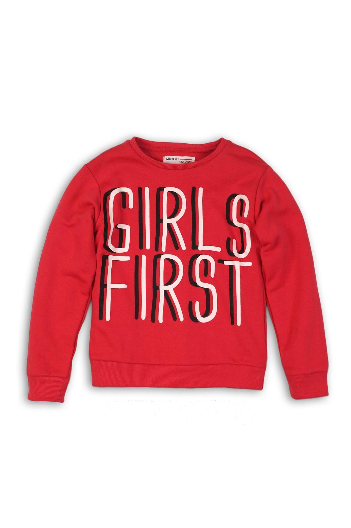 Bluza dresowa dla dziewczynki-czerwona z napisami
