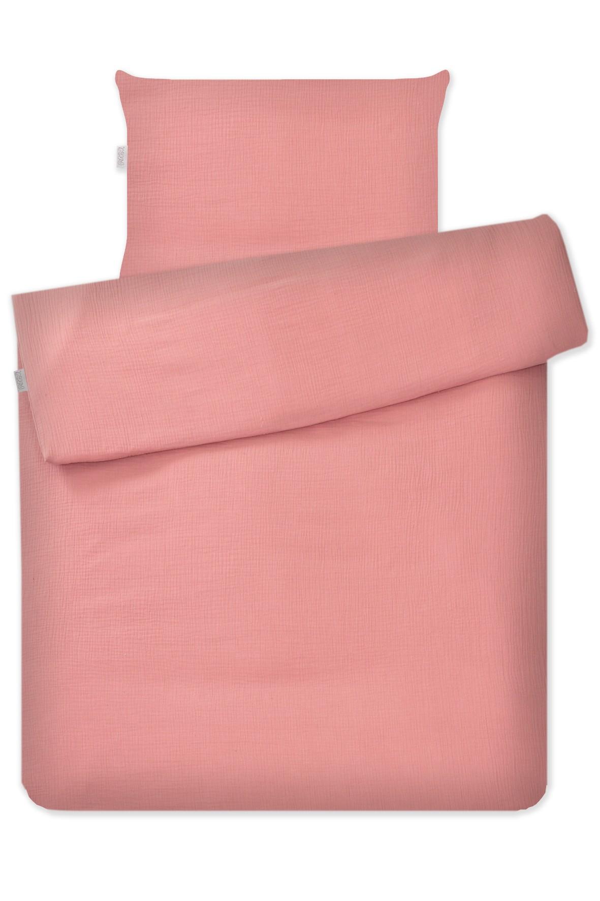 Różowa pościel 2-elementowa do łóżeczka, 135x100cm + 60x40cm