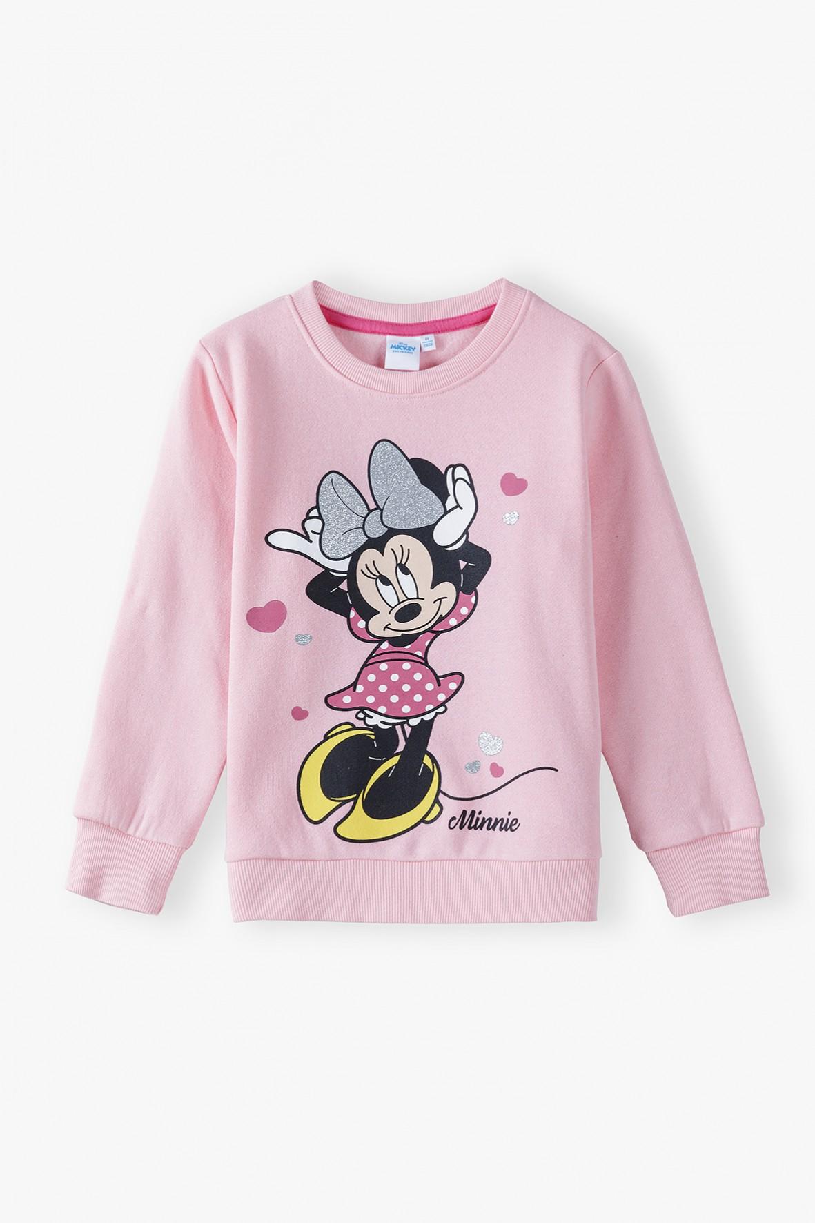 Bluza dresowa dziewczęca różowa Myszka Minnie